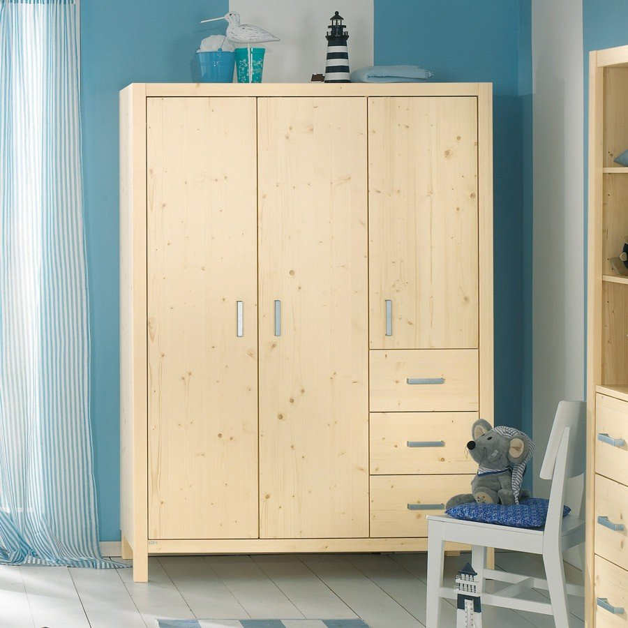 paidi pinetta kleiderschrank 3 t rig mit schubladen in. Black Bedroom Furniture Sets. Home Design Ideas