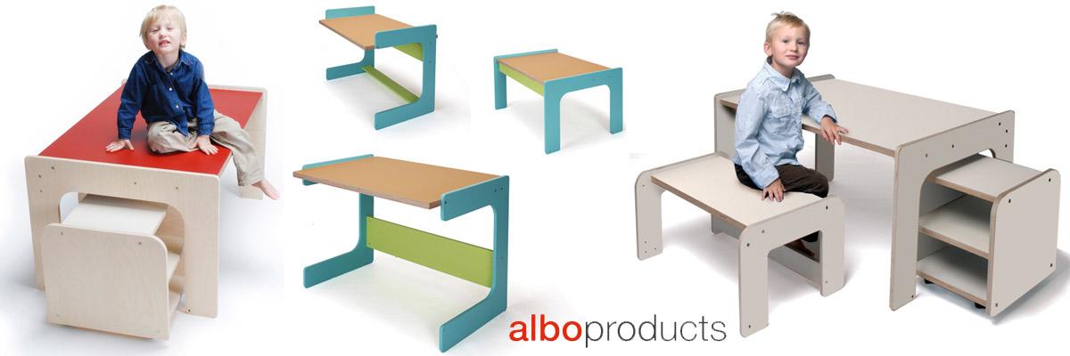 Designer Kinderschreibtische und Sitzbänke vom Berliner Label albo products