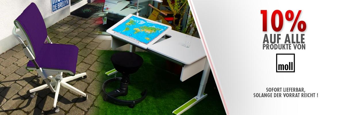 Ergonomische und mitwachsende Schreibtische und Schreibtischstühle von Moll