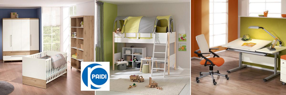 Umfangreiche Möbelserien für Babys, Kinder und Jugendliche, sowie Kinderschreibtische, Stühle, Container und Lampen von Paidi