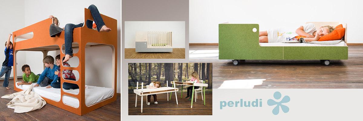 Kinderbetten, Regale und Schreibtische im extravaganten Perludi Design