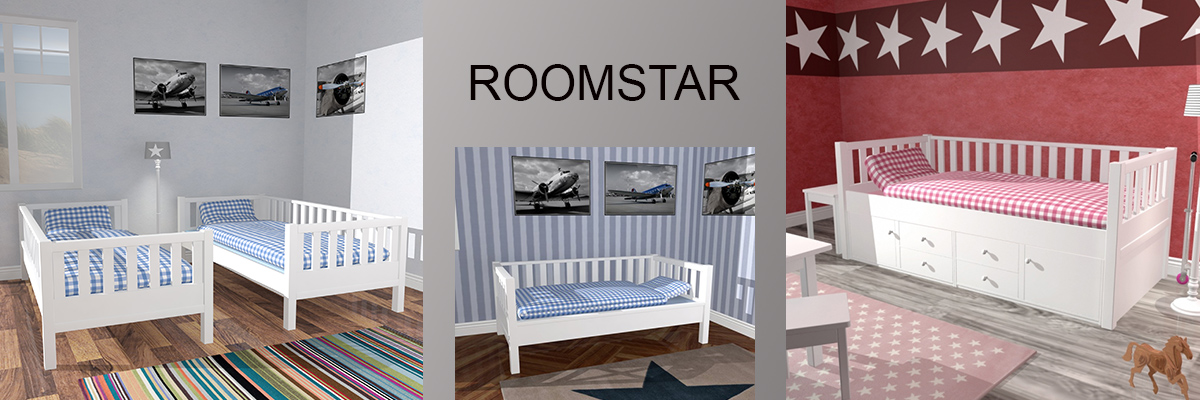 Roomstar mitwachsende teilmassive Kinder- und Jugenbettsysteme in deckend weiß