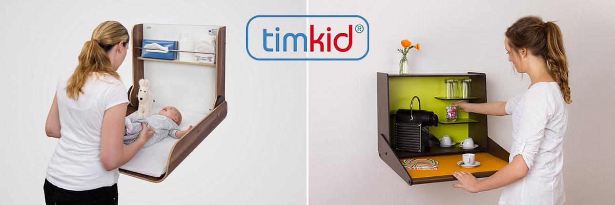 Wand-Wickeltische und klappbare Wandregale von Timkid