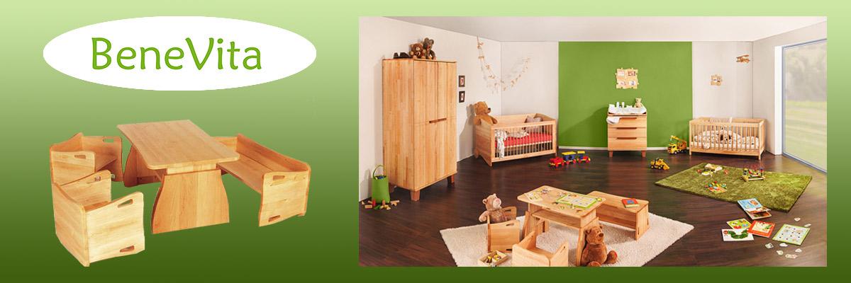 Kinderbett, Schrank und Wickelkommode aus massiver Erle von Benevita
