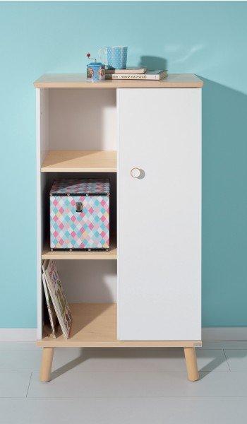 Das kleine Paidi Ylvie Regal hat drei offene Fächer und eine Tür. H nur 122 cm.