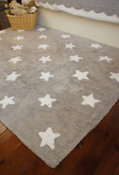 Lorena Estrellas Lino-Blanco (Teppich kleine Sterne, beige-weiß)