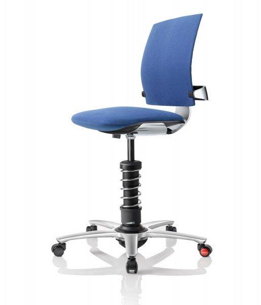 Aeris 3Dee mit Basis und Fußkreuz in Aluminium poliert und Mikrofaserbezug Comfort by Gabriel in blau