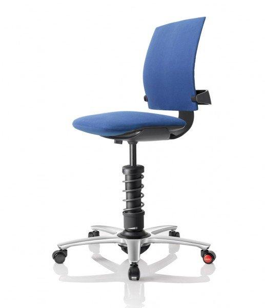 Aeris 3Dee mit Basis in Aluminium schwarz, poliertem Fußkreuz und Mikrofaserbezug Comfort by Gabriel in blau