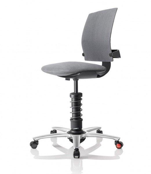 Aeris 3Dee mit Basis in Aluminium schwarz, poliertem Fußkreuz und Mikrofaserbezug Comfort by Gabriel in grau