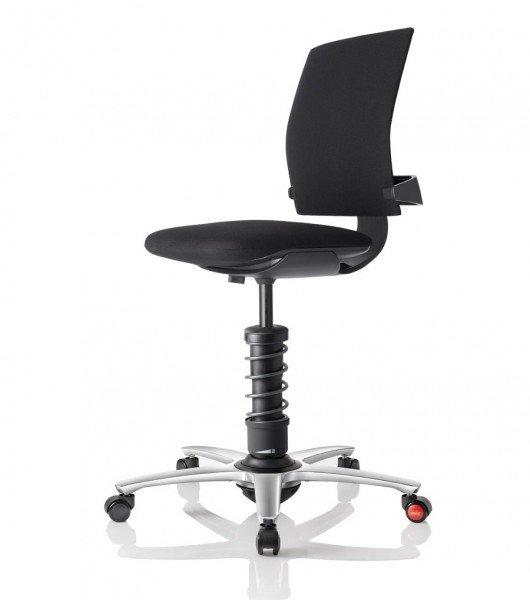 Aeris 3Dee mit Basis in Aluminium schwarz, poliertem Fußkreuz und Trevira CS Step Bezug in schwarz