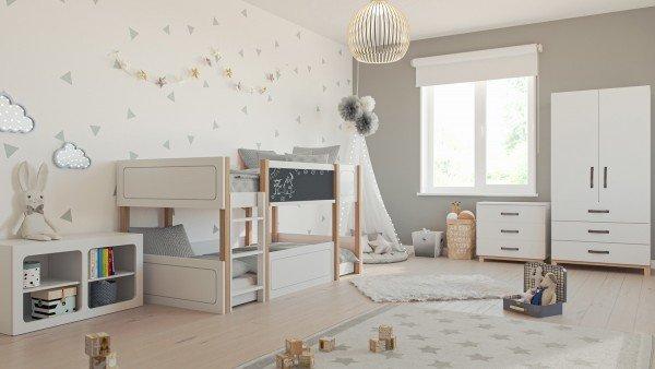 Kinderzimmer Cory mit Etagenbett ohne Dach (4-teilig)