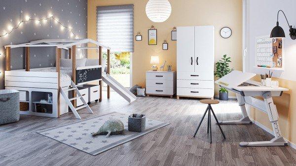 Kinderzimmer Cory mit Hausbett, Kommode, Schrank , Unterstellregal, Schreibtisch Luna und Spielzeugkisten