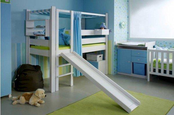 De Breuyn De Style niedriges Spielbett mit Rutsche in weiß