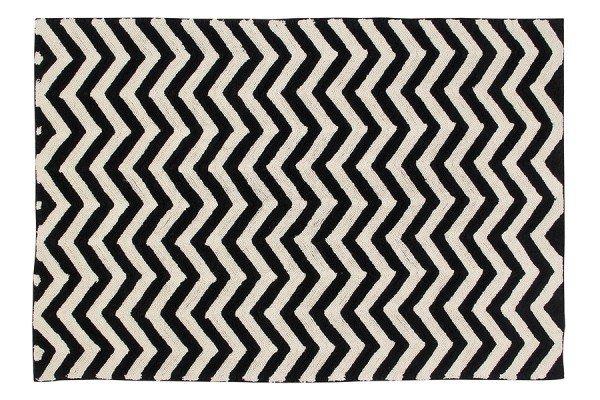 Lorena Black & White Zig-Zag Teppich in 140x200 cm