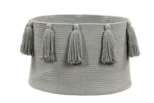 Lorena Tassels Basket light grey