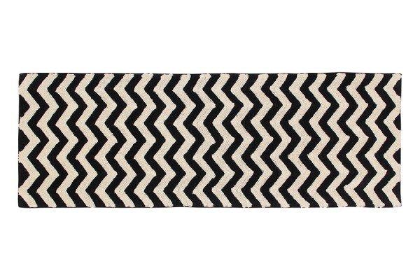 Lorena Black & White Zig-Zag Teppich als Brücke in 80x230 cm