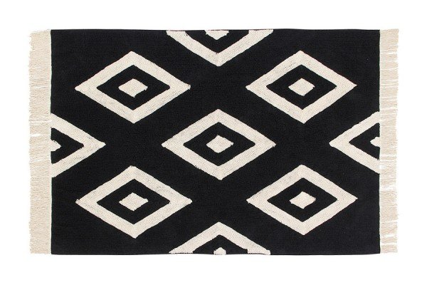 Lorena Black & White Diamonds Teppich in 140x200 cm