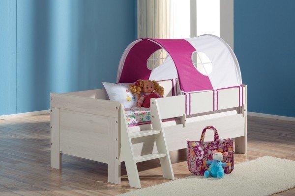 Abbildung 1: Paidi Mees Babybett als Juniorbett mit komplettem Sicherheitsset und Spielzelt und Leiter. (Erfordert Zukauf Umbauseiten, Sicherheitsset, Leiter, Spielzelt)