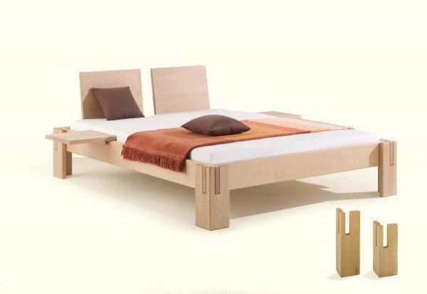 Dormiente Nuveo Maxi Massivholzbett aus Buche, metallfrei