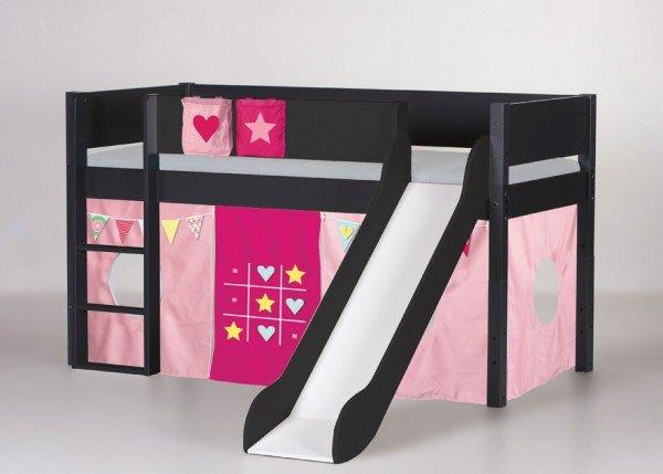 Manis-h Spielbett Loke mit Rutsche in anthrazit, Beispiel mit Spielvorhang Tic Tac Toe (Vorhang, Taschen und Matratze sind extra Zubehör)
