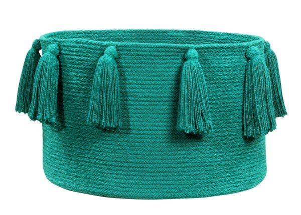 Lorena Tassels Basket Emerald