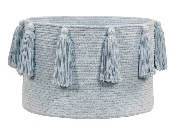 Lorena Tassels Basket soft blue