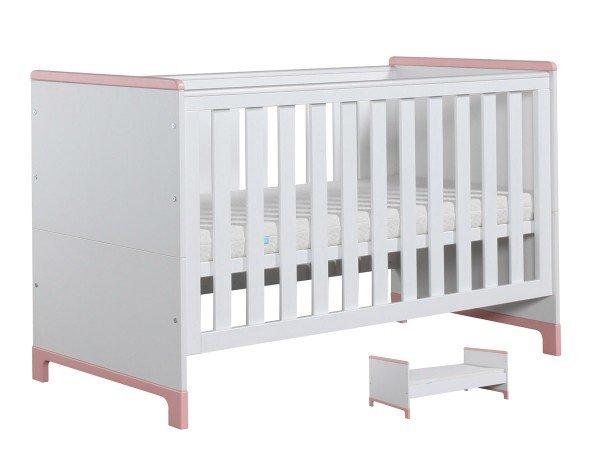 Nature Kid Mini Babybett/Juniorbett 70 x 140cm, weiß/rosa, Umbaubar in ein Juniorbett!