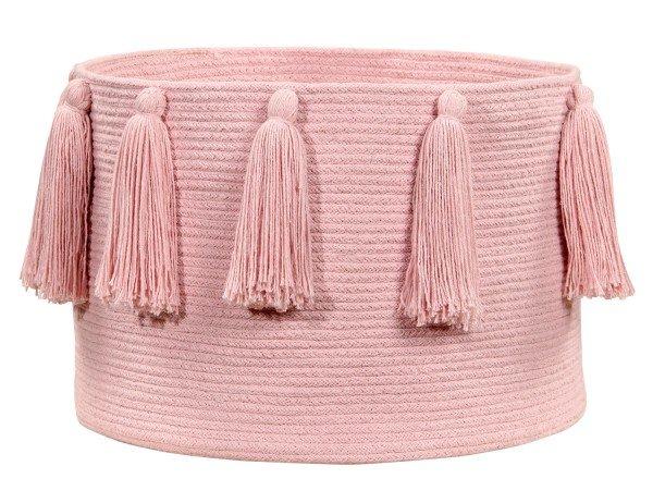 Lorena Tassels Basket Pink