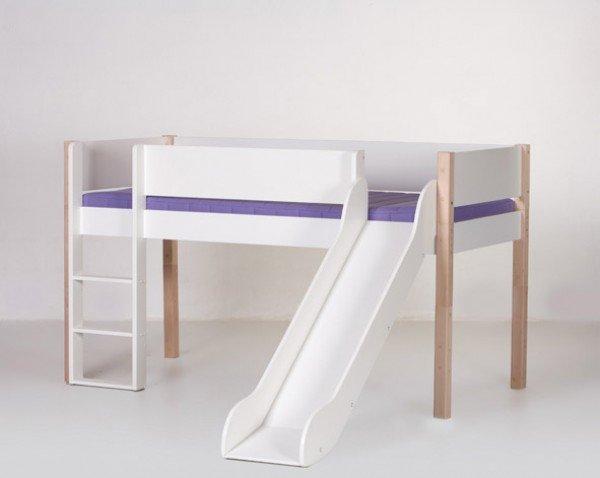 Manis-h Spielbett Loke mit Rutsche in weiß/natur