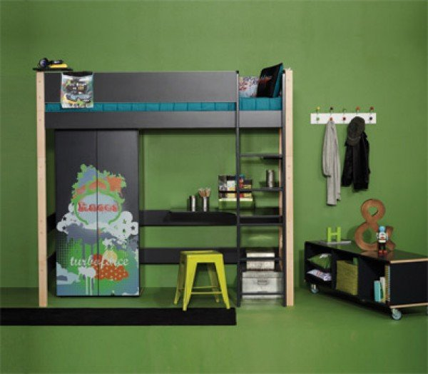Beispiel Hochbett Balder inklusive Schreibplatte (Schrank, Regalbretter und Textilien sind Zubehör)