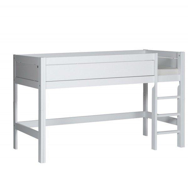 Lifetime halbhohes Bett in deckend weiß mit gerader Leiter