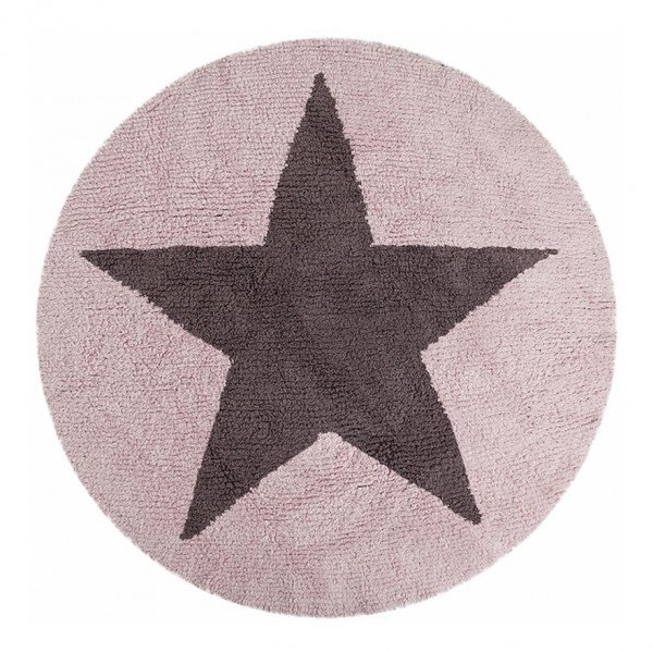 Estrella Reversible Rosa-Gris Oscuro (Wendeteppich Round Star, rosa, Ø 140cm)