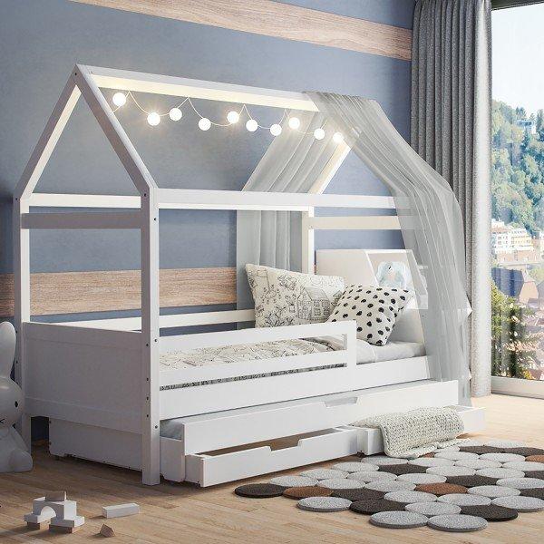 Hausbett Maya mit offenem Dach (inkl. Gästebett u. Bettkasten)
