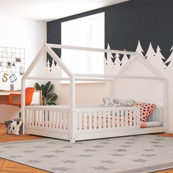Beispiel zeigt Hausbett Lilly in weiß mit Flachsprossen (120 x 200cm) - (Abbildung ähnlich)