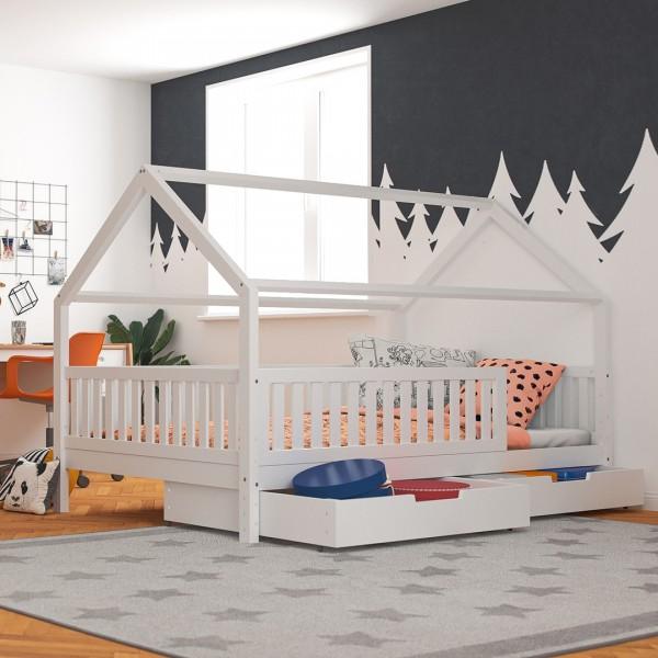 Hausbett Lilly in weiß mit Flachsprossen (120 x 200cm) - (Abbildung ähnlich)