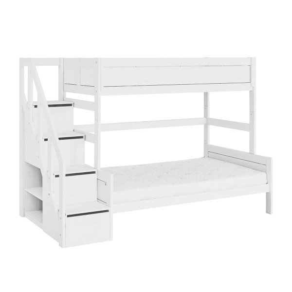 Etagenbett Family 90/120 mit Treppe white (mit optionaler Matratze)