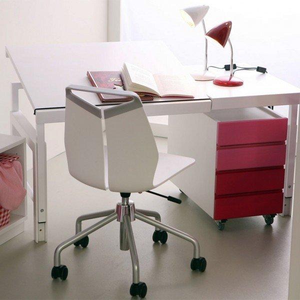 Schreibtisch Ziggy debe.destyle 860 B, uni weiß, massiv