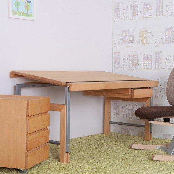 De Breuyn Schreibtisch Ziggy (Tischplatte mit durchgehenden Lamellen), Schublade gegen Aufpreis