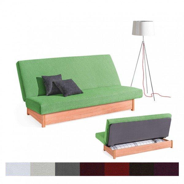 Dormiente Schlafsofa Welcome mit massivem Holzuntergestell und Bettkasten
