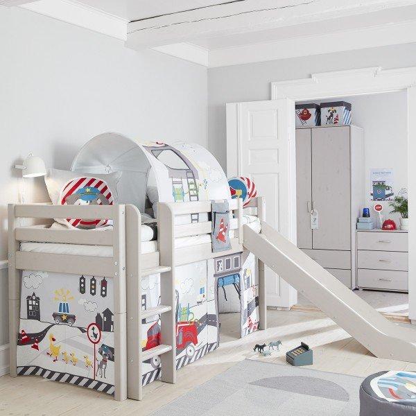 Classic halbhohes Bett mit Rutsche und gerader Leiter, in Greywash 90 x 200 cm