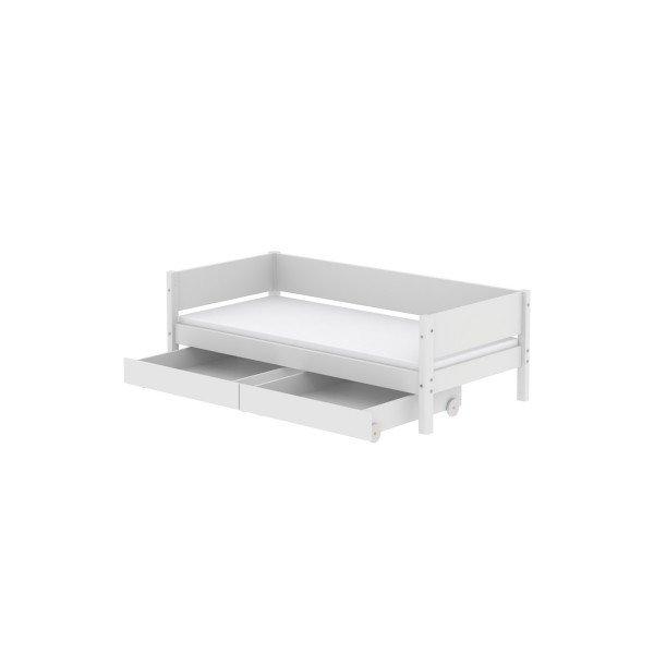 White Einzelbett mit Bettkästen in weiß, 90 x 190cm
