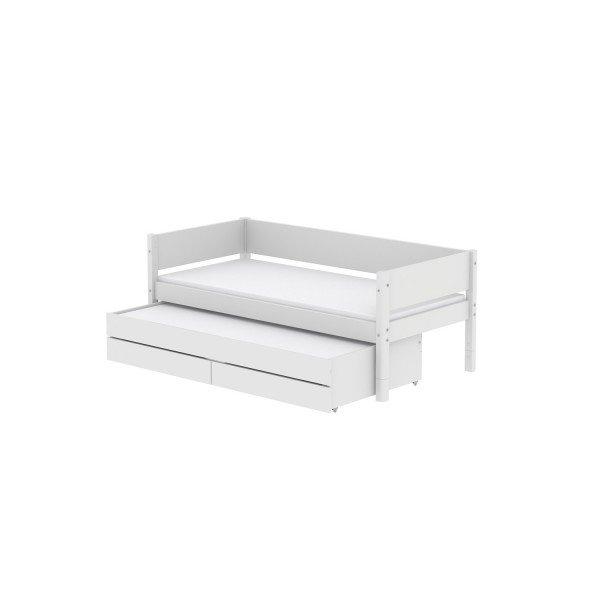 White Einzelbett mit Ausziehbett und Bettkästen in weiß, 90 x 200cm