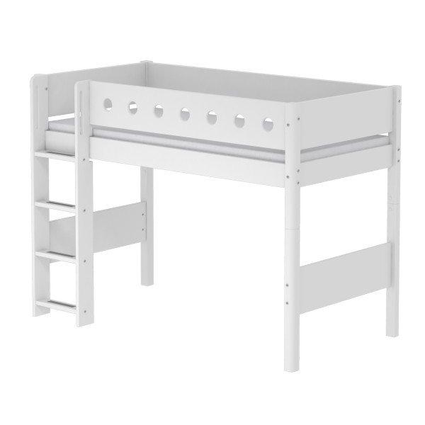 White Mittelhohes Bett in weiß, gerade Leiter