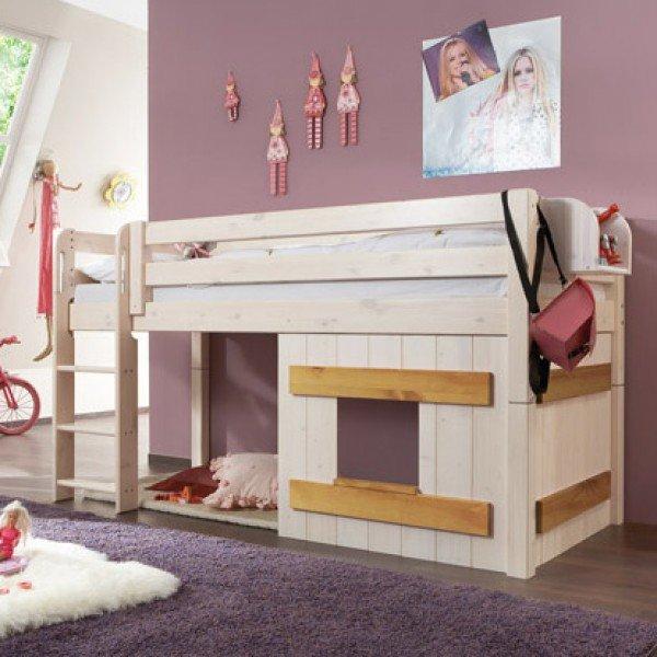 Infans halbhohes Spielbett mit Holzdekorelement