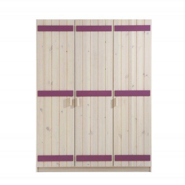 Infans Kleiderschrank 804 mit 3 Türen, weiß/flieder