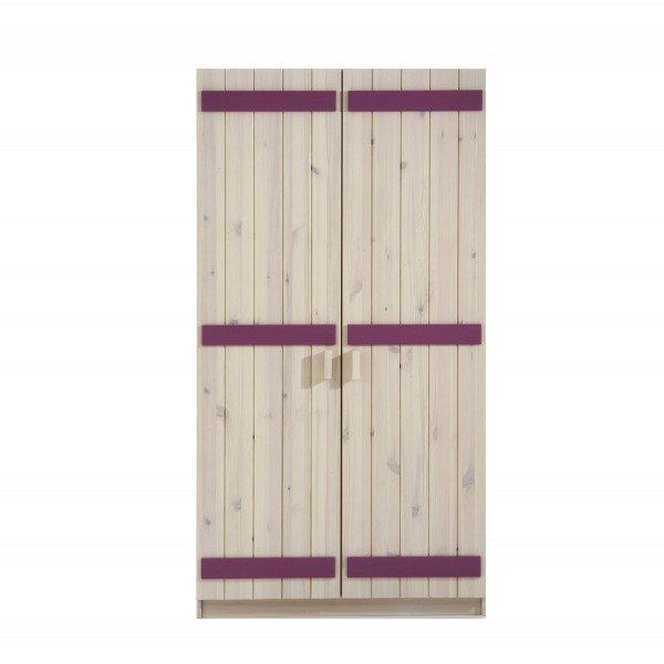 Infans Kleiderschrank 800 mit 2 Türen, aus massiver Kiefer, weiß/flieder