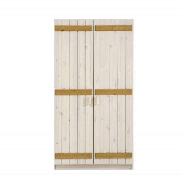 Infans Kleiderschrank 800 mit 2 Türen, aus massiver Kiefer, weiß/gelaugt