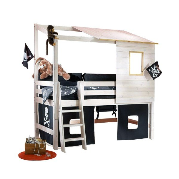 Infans halbhohes Hüttenbett als Piratenbett dekoriert