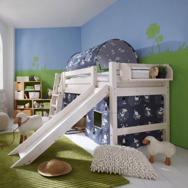 Infans Spielbett halbhoch mit kurzer Rutsche, Leiter gerade oder schräg wählbar, in 3 Farben erhältlich