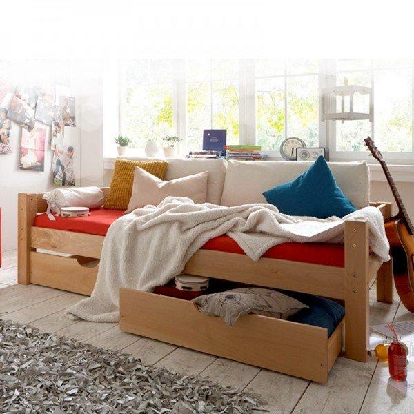 Toby Liege mit zwei Bettkästen, Buche massiv